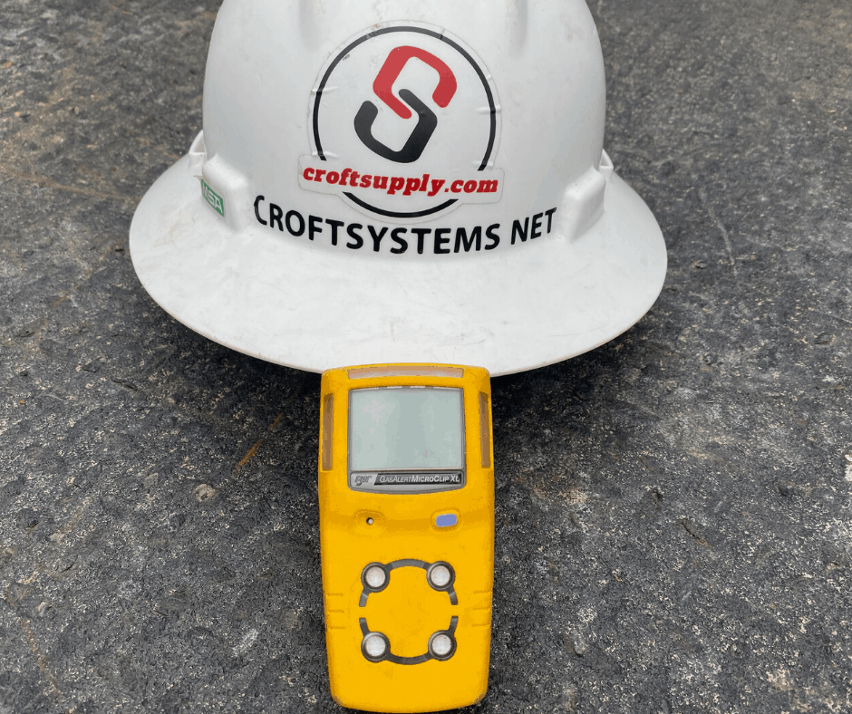 H2S monitor and hard hat