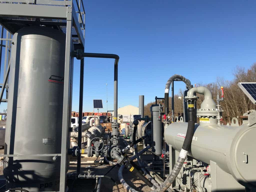 Package System for treating field gas for frac fleets